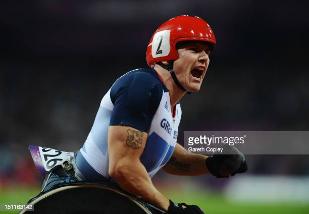 David Weir of Great Britain celebrates as he wins gold in the Men's 5000m T54 Final on day 4 of the London 2012 Paralympic Games at Olympic Stadium...