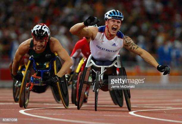 David Weir of Great Britain celebrates winning gold in the Men's 800m T54 in the Athletics event at the National Stadium during day seven of the 2008...