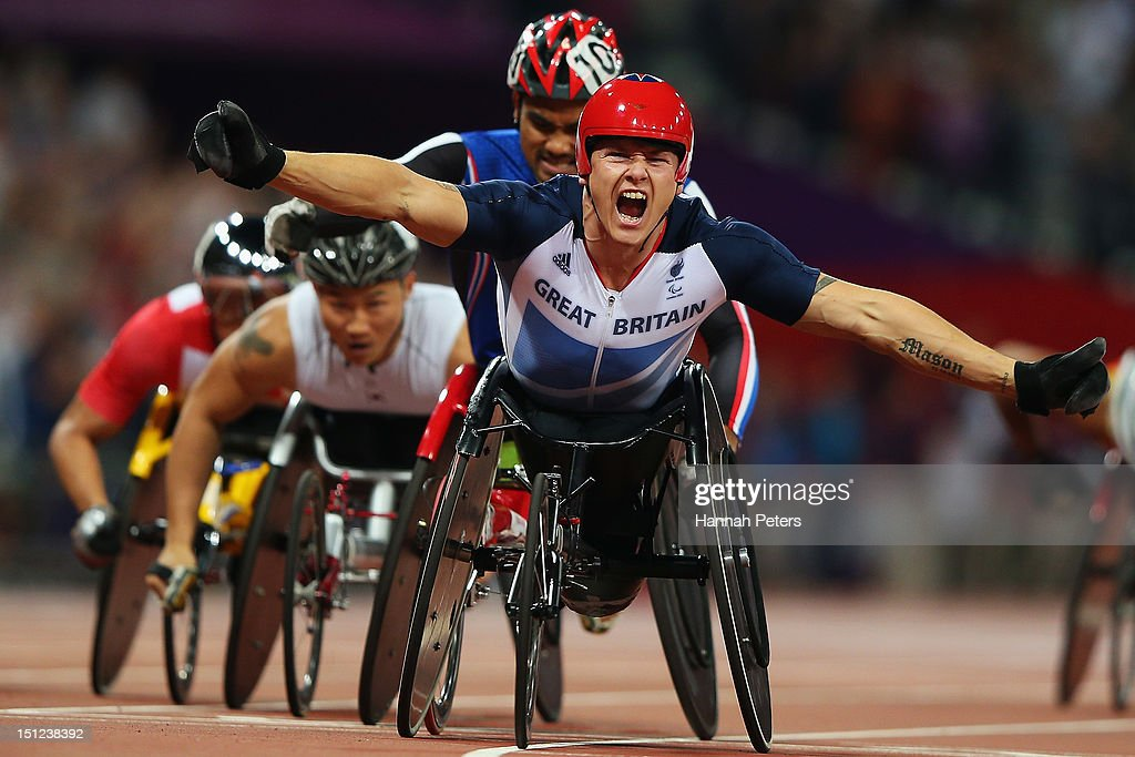 <a gi-track='captionPersonalityLinkClicked' href=/galleries/search?phrase=David+Weir+-+Athlete&family=editorial&specificpeople=12207848 ng-click='$event.stopPropagation()'>David Weir</a> of Great Britain celebrates winning the Men's 1500m ¿ T54 final on day 6 of the London 2012 Paralympic Games at Olympic Stadium on September 4, 2012 in London, England.