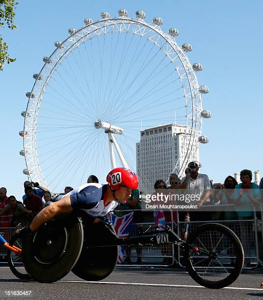 David Weir of Great Britain competea in the Mens T54 Marathon near the London Eye on day 11 of the London 2012 Paralympic Games at Olympic Stadium on...