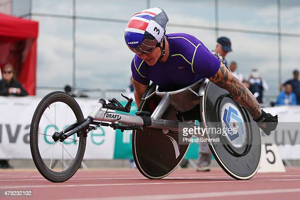 David Weir of Great Britain competes in the 800m race at the ParAthletics Grand Prix on May 30 2015 in Nottwil Switzerland
