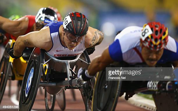 David Weir of Great Britain competes in the men's 1500m T54 final during the Evening Session on Day Three of the IPC Athletics World Championships at...