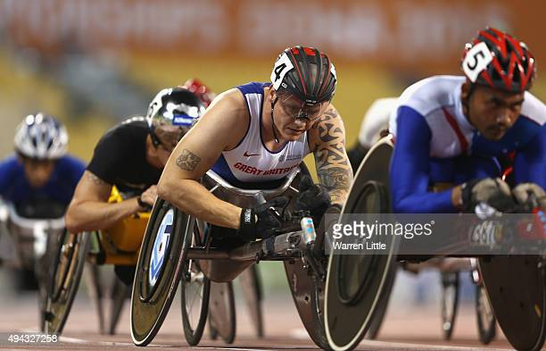David Weir of Great Britain competes in the men's 5000m T54 final during the Evening Session on Day Five of the IPC Athletics World Championships at...