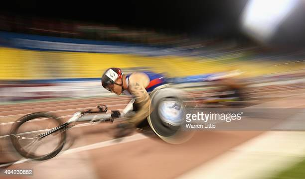 David Weir of Great Britain competes in the men's 5000m T54 heats during the Evening Session on Day Four of the IPC Athletics World Championships at...
