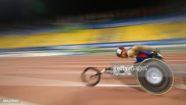 David Weir of Great Britain competes in the men's 500m T54 heats during the Evening Session on Day Four of the IPC Athletics World Championships at...