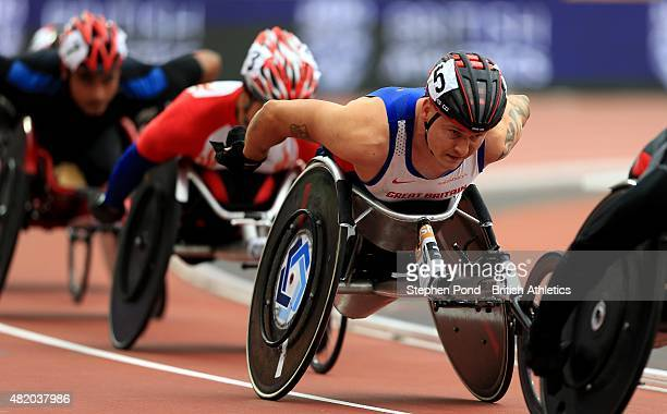David Weir of Great Britain competes in the mens T54 1500m during the IPC Grand Prix Final on day three of the Sainsbury's Anniversary Games event at...