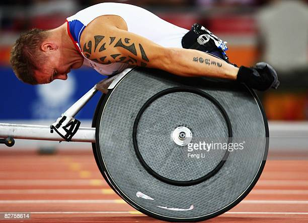 David Weir of Great Britain completes in the Men's 400m T54 Final at the National Stadium during day four of the 2008 Paralympic Games on September...