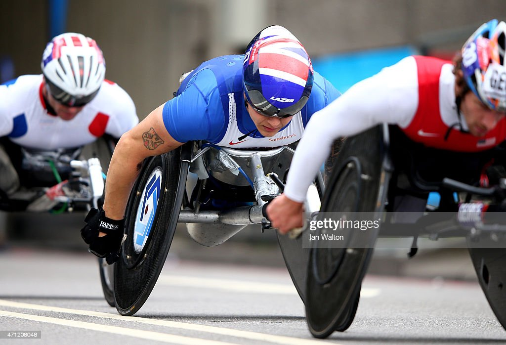 David Weir of Great Britain during the Virgin Money London Marathon on April 26, 2015 in London, England.