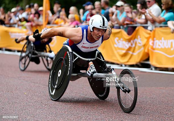 David Weir of Great Britain in action during the 1 Mile Wheelchair T53/54 race at the Sainsbury's Anniversary Games at Horse Guards Parade on July 20...
