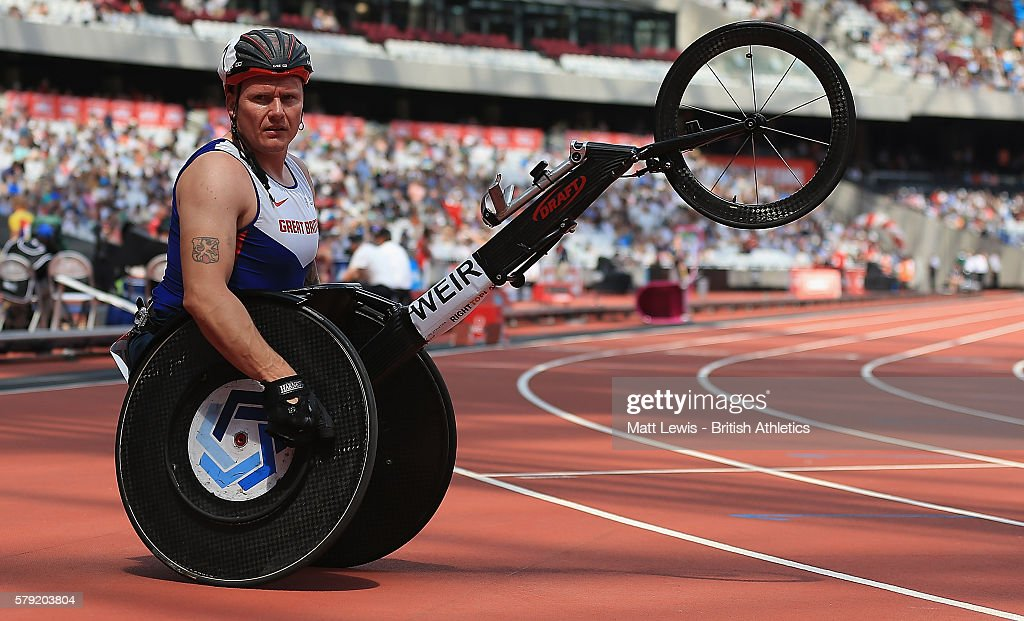 David Weir of Great Britain looks on after the Mens 1500m T54 race during day two of the Muller Anniversary Games at The Stadium - Queen Elizabeth Olympic Park on July 23, 2016 in London, England.