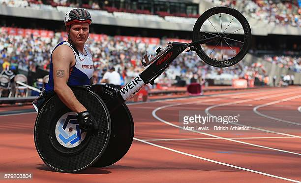 David Weir of Great Britain looks on after the Mens 1500m T54 race during day two of the Muller Anniversary Games at The Stadium Queen Elizabeth...