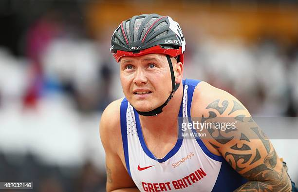 David Weir of Great Britain looks on prior to the start of the Men's 1500m T54 race during day three of the Sainsbury's Anniversary Games at The...