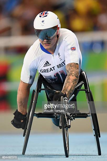 David Weir of Great Britain reacts after competing in the Men's 1500m T54 Final on day 6 of the Rio 2016 Paralympic Games at the Olmpic Stadium on...