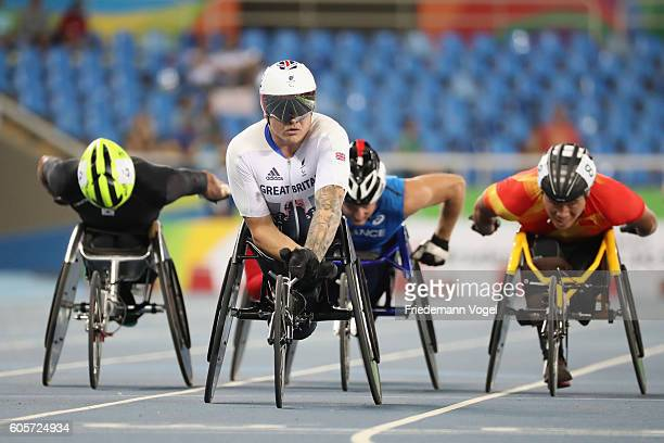 David Weir of Great Britain reacts after competing in the Men's 800m T54 Heat on day 7 of the Rio 2016 Paralympic Games at the Olympic Stadium on...