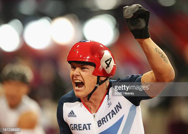 David Weir of Great Britain wins gold in the Men's 1500m T54 Final on day 6 of the London 2012 Paralympic Games at Olympic Stadium on September 4...