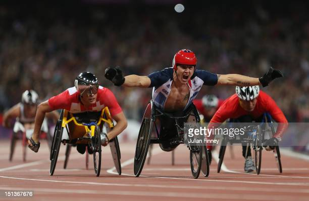 David Weir of Great Britain wins gold in the Men's 800m T54 Final on day 8 of the London 2012 Paralympic Games at Olympic Stadium on September 6 2012...