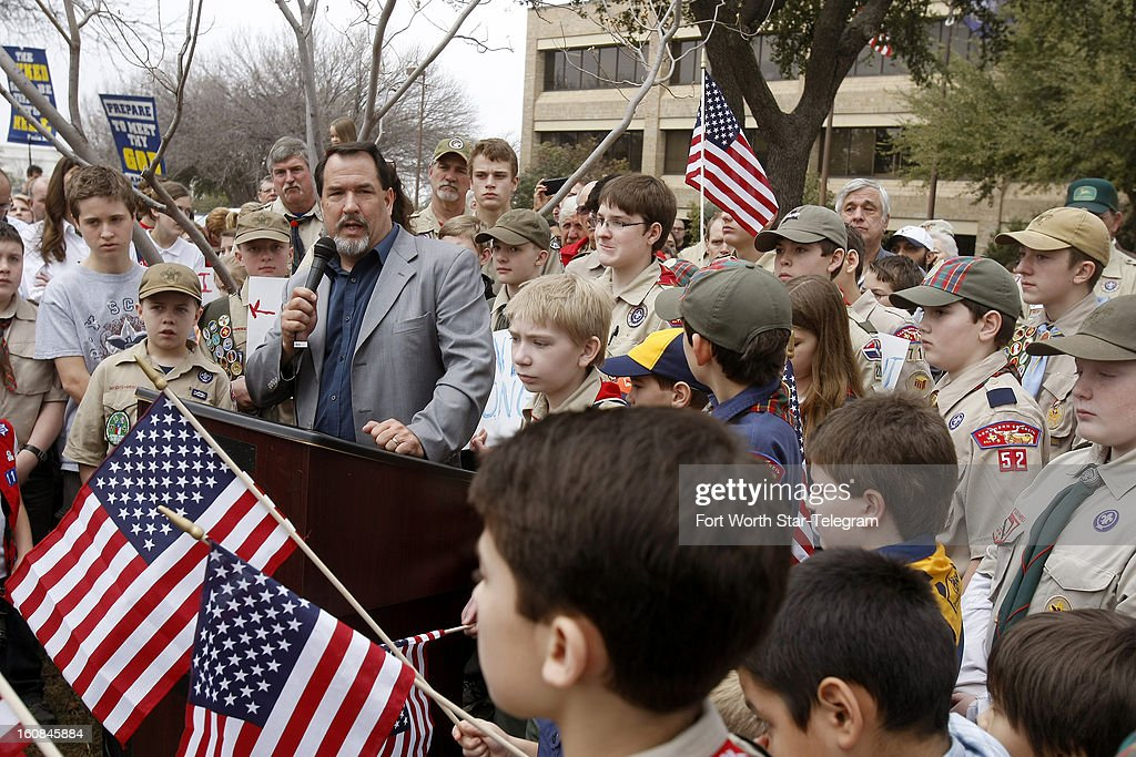 David Welch speaks at the 'Save Our Scouts' prayer rally outside the Boy Scouts of America national headquarters in Irving, Texas, Wednesday, February 6, 2013.