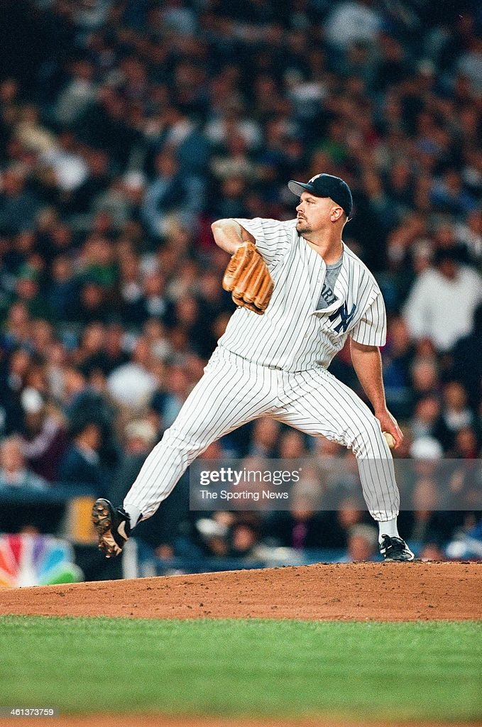 <a gi-track='captionPersonalityLinkClicked' href=/galleries/search?phrase=David+Wells+-+Baseball+Player&family=editorial&specificpeople=202481 ng-click='$event.stopPropagation()'>David Wells</a> of the New York Yankees pitches during Game One of the American League Championship Series against the Cleveland Indians on October 6, 1998 at Yankee Stadium in Bronx, New York.