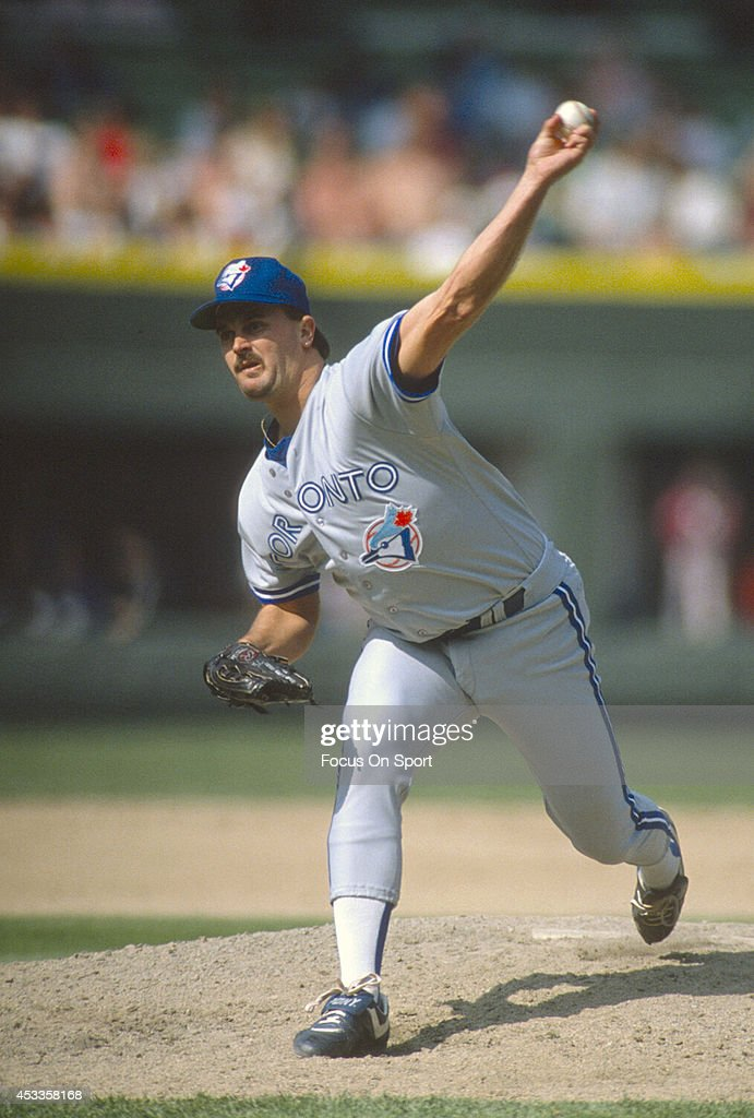 <a gi-track='captionPersonalityLinkClicked' href=/galleries/search?phrase=David+Wells+-+Baseball+Player&family=editorial&specificpeople=202481 ng-click='$event.stopPropagation()'>David Wells</a> # 46 of the Toronto Blue Jays pitches against the Chicago White Sox during an Major League Baseball game circa 1990 at Comiskey Park in Chicago, Illinois. Wells played for the Blue Jays from 1987-92.
