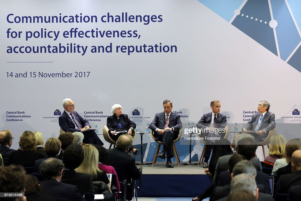 David Wessel, Brooking Institution, Janet Yellen, Chair of the Federal Reserve, Mario Draghi, President of the European Central Bank (ECB), Mark Carney, Governor of the Bank of England, and Haruhiko Kuroda, Governor of the Bank of Japan, in a panel to discuss central bank communication on November 14, 2017 in Frankfurt, Germany. The event, which is taking place at European Central Bank headquarters, is part of a two-day conference on central bank communication.