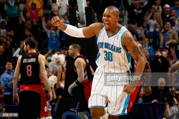 David West celebrates after Peja Stojakovic of the New Orleans Hornets made a three point shot against the Toronto Raptors on February 6 2009 in New...