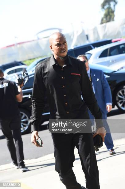 David West of the Golden State Warriors arrives before the game against the Cleveland Cavaliers in Game Five of the 2017 NBA Finals on June 12 2017...
