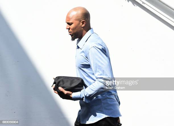 David West of the Golden State Warriors arrives to the arena before the game against the San Antonio Spurs during Game One of the Western Conference...