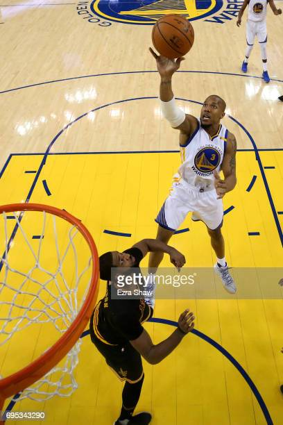 David West of the Golden State Warriors attempts a shot against the Cleveland Cavaliers during the first half in Game 5 of the 2017 NBA Finals at...