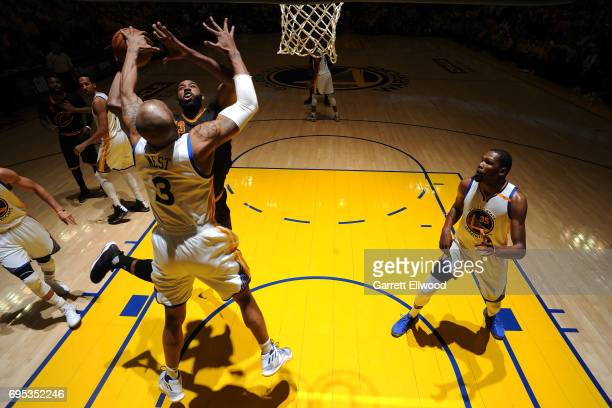 David West of the Golden State Warriors blocks a shot against Tristan Thompson of the Cleveland Cavaliers in Game Five of the 2017 NBA Finals on June...