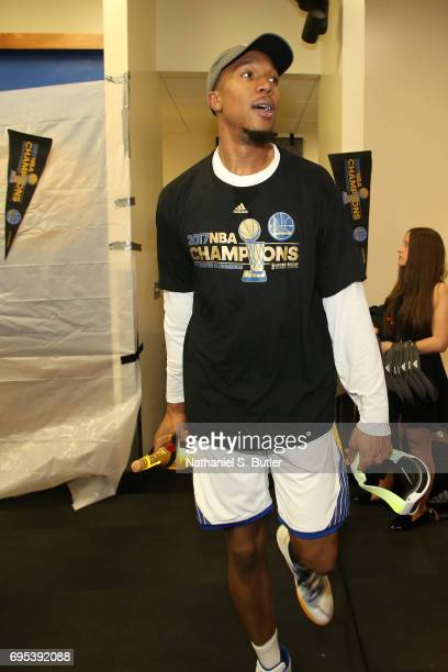 David West of the Golden State Warriors celebrates in the locker room after winning the NBA Championsip in Game Five of the 2017 NBA Finals against...