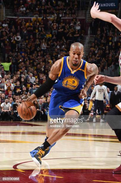 David West of the Golden State Warriors drives to the basket against the Cleveland Cavaliers in Game Three of the 2017 NBA Finals on June 7 2017 at...