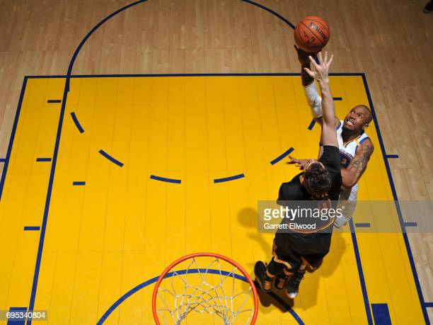 David West of the Golden State Warriors drives to the basket against the Cleveland Cavaliers in Game Five of the 2017 NBA Finals on June 12 2017 at...