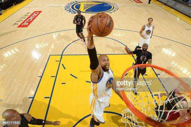 David West of the Golden State Warriors dunks against the LA Clippers on February 23 2017 at ORACLE Arena in Oakland California NOTE TO USER User...