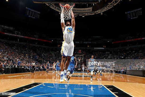 David West of the Golden State Warriors dunks the ball during the game against the Minnesota Timberwolves on December 11 2016 at Target Center in...