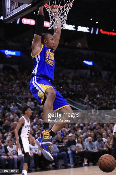 David West of the Golden State Warriors dunks the ball in the first half against the San Antonio Spurs during Game Four of the 2017 NBA Western...
