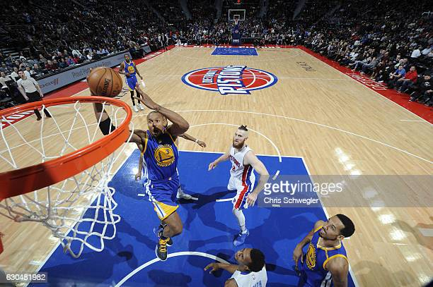 David West of the Golden State Warriors goes up for a dunk during a game against the Detroit Pistons on December 23 2016 at The Palace of Auburn...