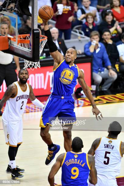 David West of the Golden State Warriors goes up for a dunk in the second half against the Cleveland Cavaliers in Game 3 of the 2017 NBA Finals at...