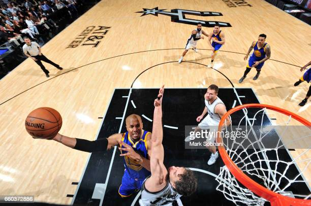 David West of the Golden State Warriors goes up for a lay up against the San Antonio Spurs on March 29 2017 at the ATT Center in San Antonio Texas...