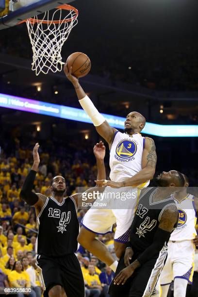 David West of the Golden State Warriors goes up for a shot against the San Antonio Spurs during Game Two of the NBA Western Conference Finals at...