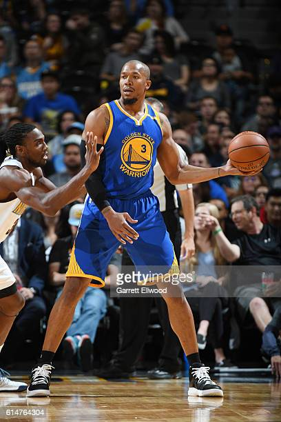 David West of the Golden State Warriors handles the ball against the Denver Nuggets on October 14 2016 at Pepsi Center in Denver Colorado NOTE TO...