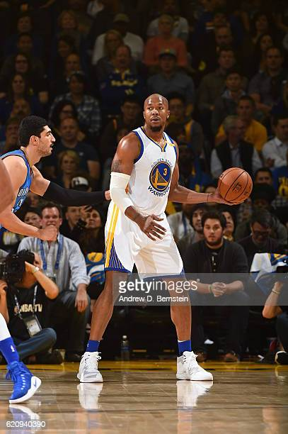 David West of the Golden State Warriors handles the ball against the Oklahoma City Thunder on November 3 2016 at ORACLE Arena in Oakland California...