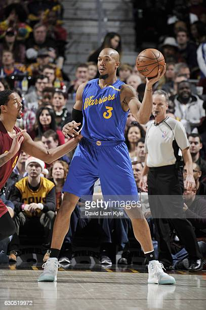 David West of the Golden State Warriors handles the ball against the Cleveland Cavaliers during the game on December 25 2016 at Quicken Loans Arena...