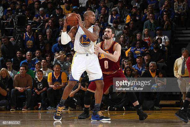 David West of the Golden State Warriors handles the ball against the Cleveland Cavaliers on January 16 2017 at ORACLE Arena in Oakland California...