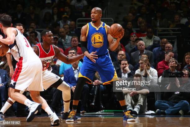 David West of the Golden State Warriors handles the ball against the Washington Wizards on February 28 2017 at Verizon Center in Washington DC NOTE...