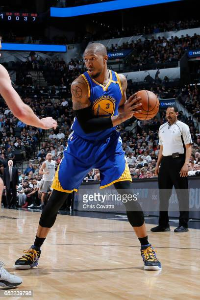 David West of the Golden State Warriors handles the ball against the San Antonio Spurs on March 11 2017 at the ATT Center in San Antonio Texas NOTE...