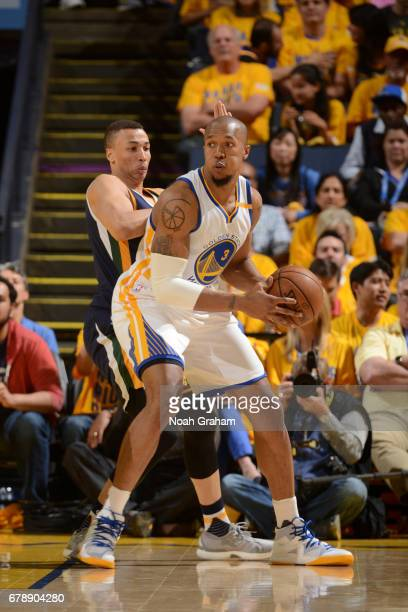 David West of the Golden State Warriors handles the ball against the Utah Jazz in Game Two the Western Conference Semifinals of the 2017 NBA Playoffs...