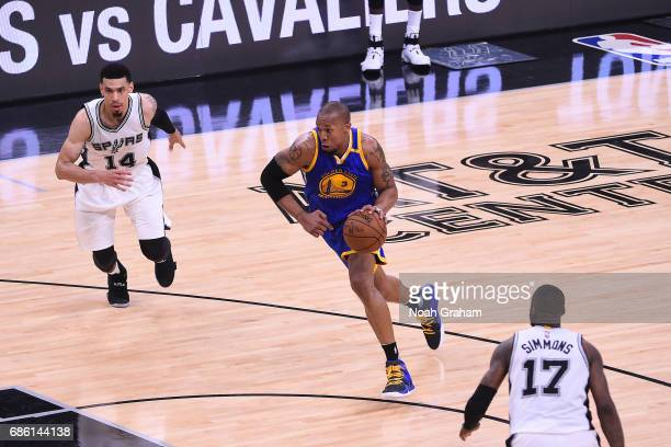 David West of the Golden State Warriors handles the ball against the San Antonio Spurs in Game Three of the Western Conference Finals of the 2017 NBA...
