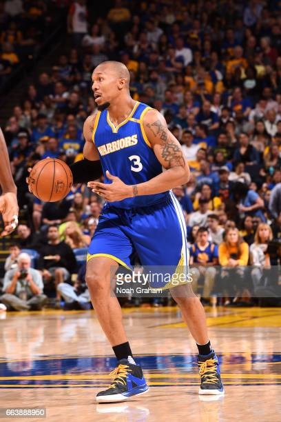 David West of the Golden State Warriors handles the ball during the game against the Washington Wizards on April 2 2017 at ORACLE Arena in Oakland...