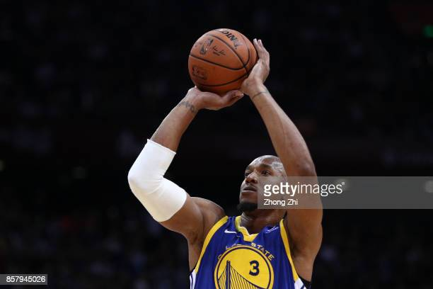David West of the Golden State Warriors in action during the game between the Minnesota Timberwolves and the Golden State Warriors as part of 2017...
