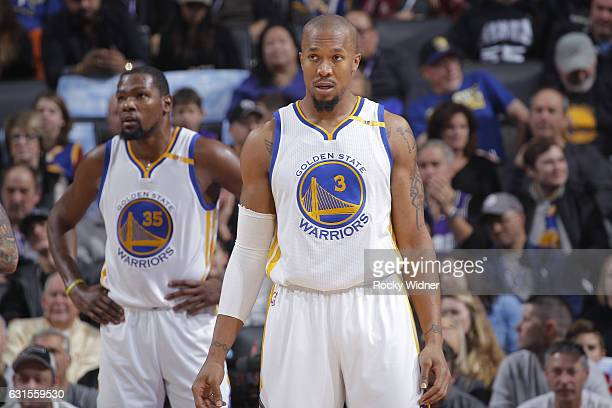 David West of the Golden State Warriors looks on during the game against the Sacramento Kings on January 8 2017 at Golden 1 Center in Sacramento...